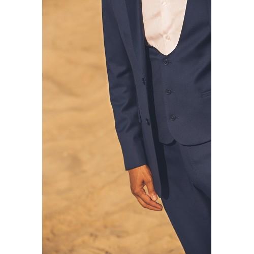Μπλε γιλέκο με βαθύ χαμόγελο - product image