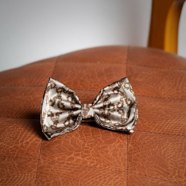 Beige/brown detailed bow tie - product image