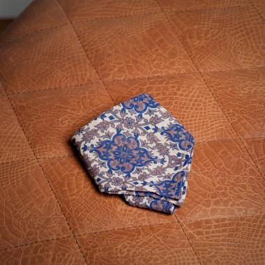 Beige/blue floral pocket square - product image