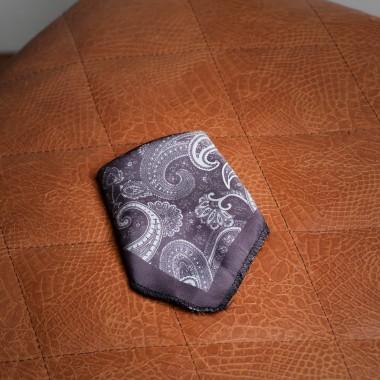 Black/white paisley pocket square - product image