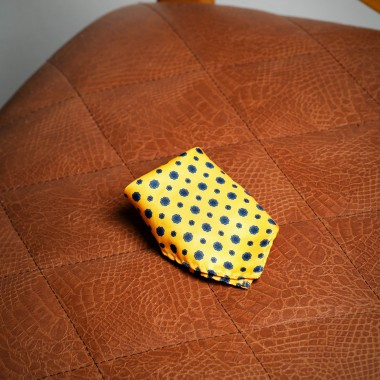 Yellow with blue flowers pocket square - product image
