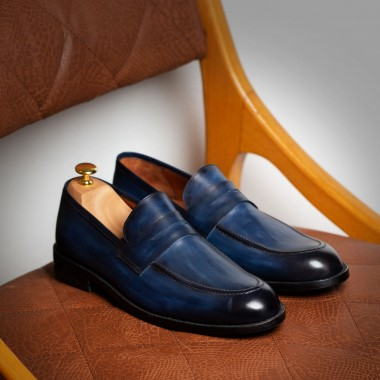Blue Patina leather loafers - product image