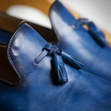 Blue Patina leather shoes with tussels - product image