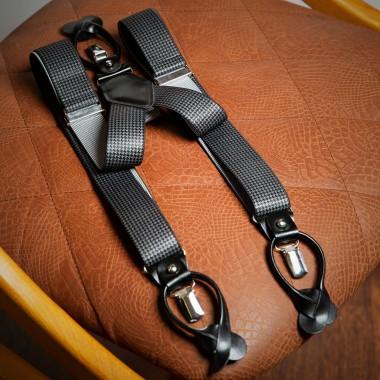 Grey pie de pool tweed suspenders - product image