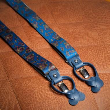 Blue paisley tweed suspenders - product image