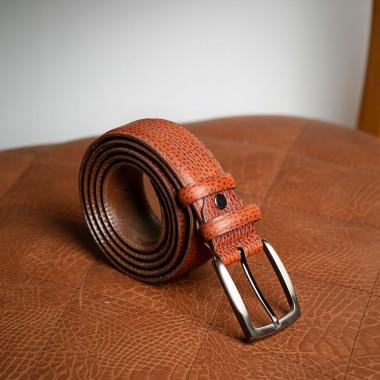 Beige/Taba leather belt - product image