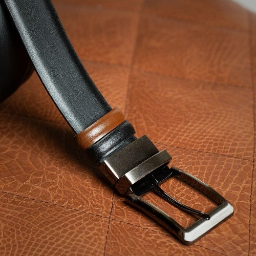 Black/Brown double phased leather belt - product image