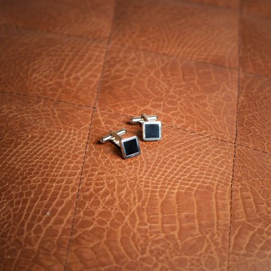 Black square cufflinks - product image