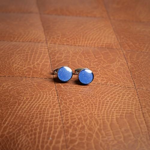 Μπλε στρογγυλά μανικετόκουμπα - product image