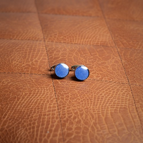 blue round cufflinks - product image