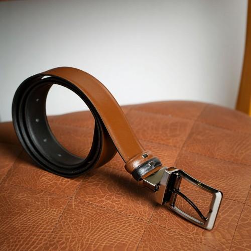 Μαύρη/Καφέ διπλής όψεως δερμάτινη ζώνη - product image