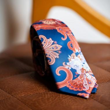 Blue tie with orange paisley - product image