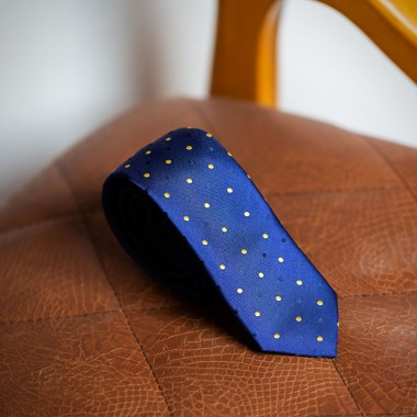 Blue tie with blue/yellow polka dot - product image