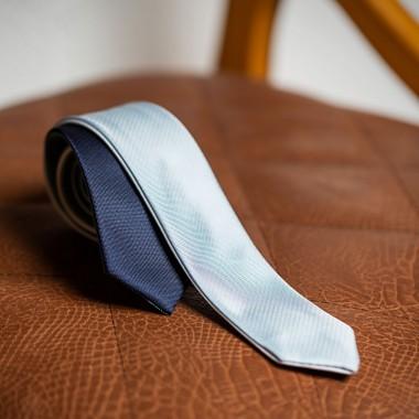 Ασημί/μπλε τετραπλής όψεως γραβάτα - product image
