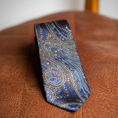 Blue tie with brown paisley - product image