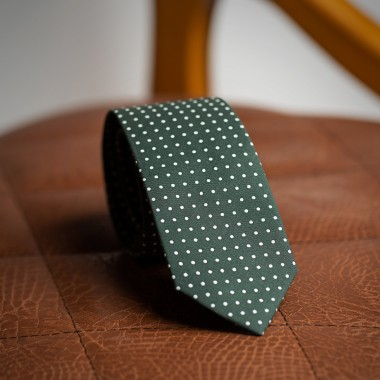 Green tie with white polka dot - product image