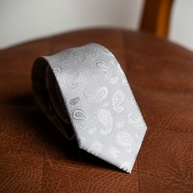 Silver paisley tie - product image