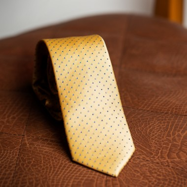 Yellow tie with light blue polka dot - product image