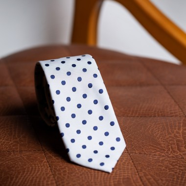 White tie with blue polka dot - product image