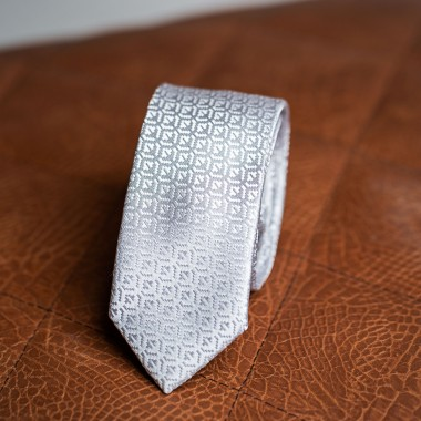 Silver/grey tie with print - product image