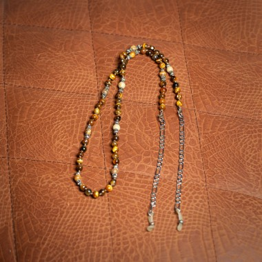 Silver chain with earth mineral stones - product image