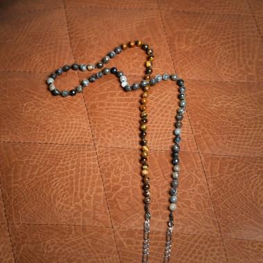 Ασημένια αλυσίδα με μπλε/καφέ ορυκτές πέτρες - product image