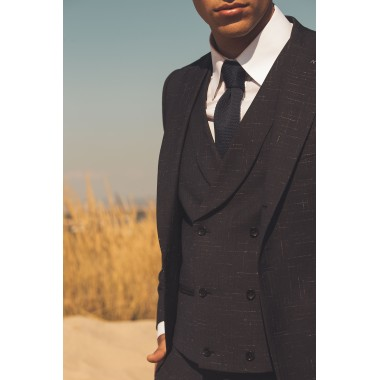 Blue/black double breasted waistcoat with white details - product image